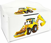 Leomark Groß Holz Kindertruhenbank XL Kinderbank Truhenbank Motiv: Bagger. Behälter für Spielzeug, Sitzbank mit Stauraum für Spielsachen