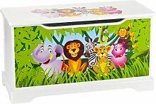Leomark Hölzern Kindertruhenbank Kinderbank Truhenbank Motiv: Dschungel tiere, Behälter für Spielzeug, Sitzbank mit Stauraum für Spielsachen