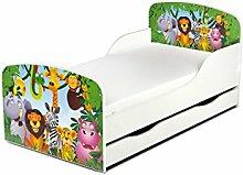 Leomark KINDERBETT 140x70 mit Schublade Funktionsbett Einzelbett mit Matratze Motiv: Dschungel tiere Sehr Einfache Montage