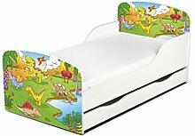 Leomark KINDERBETT 140x70 mit Schublade Funktionsbett Einzelbett mit Matratze Motiv: Dinosaurier Sehr Einfache Montage, Bettkasten