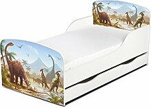 Leomark KINDERBETT 140x70 mit Schublade Funktionsbett Einzelbett mit Matratze Motiv: Dinosaurier Jurassic Sehr Einfache Montage, Bettkasten
