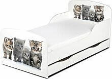 Leomark KINDERBETT 140x70 mit Schublade Funktionsbett Einzelbett mit Matratze Motiv: Familie der Katzen Sehr Einfache Montage, Bettkasten
