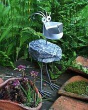 Leon Gartenfigur und Gartendeko als Steinvogel aus Edelstahl und Stein Größe M ca 40 cm hoch Design Tiedemann