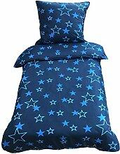 Leonado Vicenti Bettwäsche 135x200 cm blau Sterne