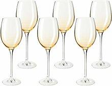 Leonardo 014881 Set 6 Weinglas Cheers, spülmaschinenfest, ambra gelb / gold