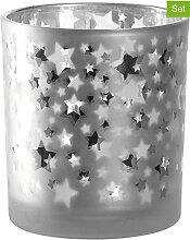 LEONARDO - 6er-Set: Teelichthalter in Silber -