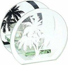 LEONARDO HOME Palme Silber Spiegel Glas