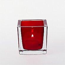 Leonardo Tischlicht Cube rot 8 cm