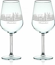 Leonardo Weinglas mit Gravur - Skyline Amsterdam