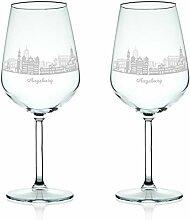 Leonardo Weinglas mit Gravur - Skyline Augsburg im