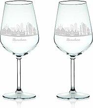 Leonardo Weinglas mit Gravur - Skyline Barcelona