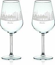 Leonardo Weinglas mit Gravur - Skyline Berlin im