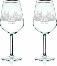 Leonardo Weinglas mit Gravur - Skyline Bochum im