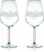 Leonardo Weinglas mit Gravur - Skyline Bremen im