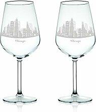 Leonardo Weinglas mit Gravur - Skyline Chicago im