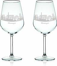 Leonardo Weinglas mit Gravur - Skyline Dormagen im