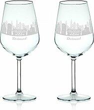 Leonardo Weinglas mit Gravur - Skyline Dortmund im