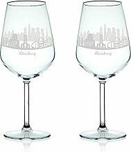 Leonardo Weinglas mit Gravur - Skyline Duisburg im