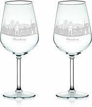 Leonardo Weinglas mit Gravur - Skyline Flensburg