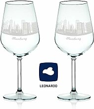 Leonardo Weinglas mit Gravur - Skyline Hamburg im