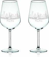 Leonardo Weinglas mit Gravur - Skyline Hong Kong