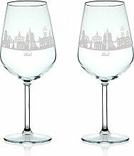 Leonardo Weinglas mit Gravur - Skyline Kiel im Set