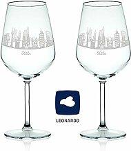 Leonardo Weinglas mit Gravur - Skyline Köln im