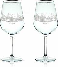 Leonardo Weinglas mit Gravur - Skyline Krefeld im