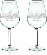 Leonardo Weinglas mit Gravur - Skyline Landsberg