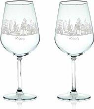 Leonardo Weinglas mit Gravur - Skyline Leipzig im