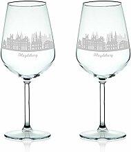 Leonardo Weinglas mit Gravur - Skyline Magdeburg