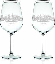 Leonardo Weinglas mit Gravur - Skyline Mainz im