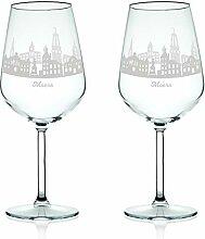 Leonardo Weinglas mit Gravur - Skyline Moers im