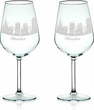 Leonardo Weinglas mit Gravur - Skyline München im