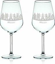 Leonardo Weinglas mit Gravur - Skyline Münster im