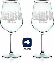 Leonardo Weinglas mit Gravur - Skyline New York im