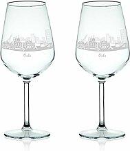 Leonardo Weinglas mit Gravur - Skyline Oslo im Set