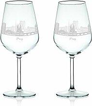 Leonardo Weinglas mit Gravur - Skyline Prag im Set