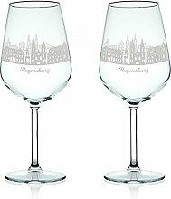 Leonardo Weinglas mit Gravur - Skyline Regensburg