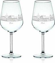 Leonardo Weinglas mit Gravur - Skyline Rom im Set