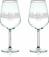 Leonardo Weinglas mit Gravur - Skyline Rostock im