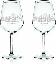 Leonardo Weinglas mit Gravur - Skyline Stockholm