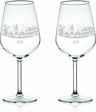 Leonardo Weinglas mit Gravur - Skyline Sylt im Set