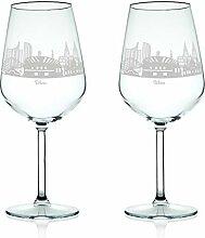 Leonardo Weinglas mit Gravur - Skyline Wien im Set