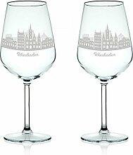 Leonardo Weinglas mit Gravur - Skyline Wiesbaden