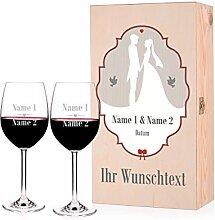 Leonardo Weinset zur Hochzeit mit Premium Holzbox und gravierten Gläsern
