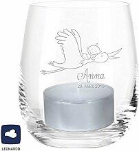 Leonardo Windlicht zur Geburt / Taufe (personalisiert mit dem Namen des Kindes + Datum) Teelichtleuchter, Glaswindlicht, Geschenkidee, Geschenk, Gastgeschenk, Dekoration, Kerze, Deko, Baby