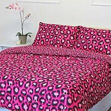 Leopard Animal Print Bettbezug-Hot Pink Bettwäsche Bett-Set für Mädchen Hot Pink Schwarz Parent, Polyester, Hot Pink Black, King Size