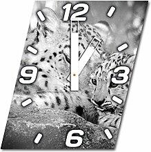 Leopard, Design Wanduhr aus Alu Dibond zum Aufhängen, 30 cm Durchmesser, breite Zeiger, schöne und moderne Wand Dekoration, mit qualitativem Quartz Uhrwerk