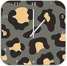 Leopard Grau, Wanduhr Durchmesser 28cm mit weißen spitzen Zeigern und Ziffernblatt, Dekoartikel, Designuhr, Aluverbund sehr schön für Wohnzimmer, Kinderzimmer, Arbeitszimmer